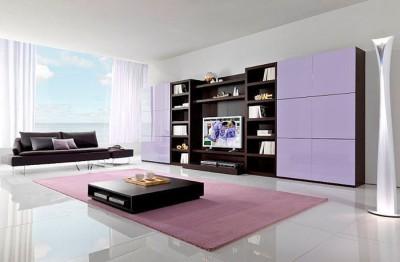 Идеи за обзавеждане на хол в лилаво